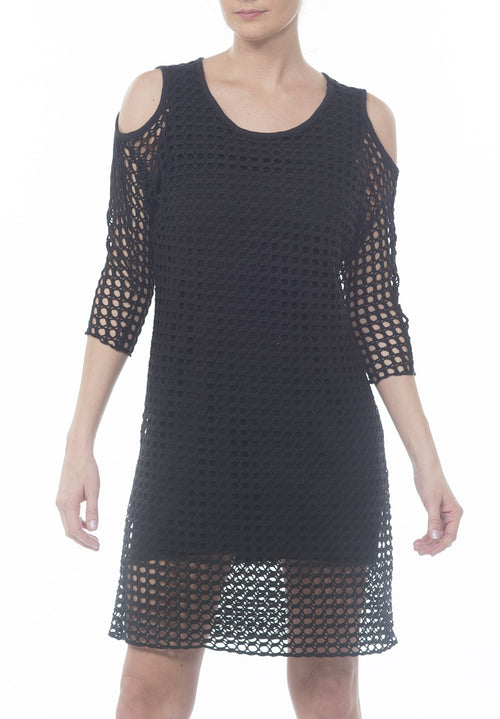COLD SHOULDER CROCHET DRESS - PTJ TREND: Women's Designer Clothing