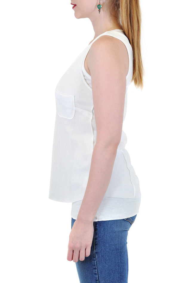 LAYERED TANK WITH FRONT POCKET