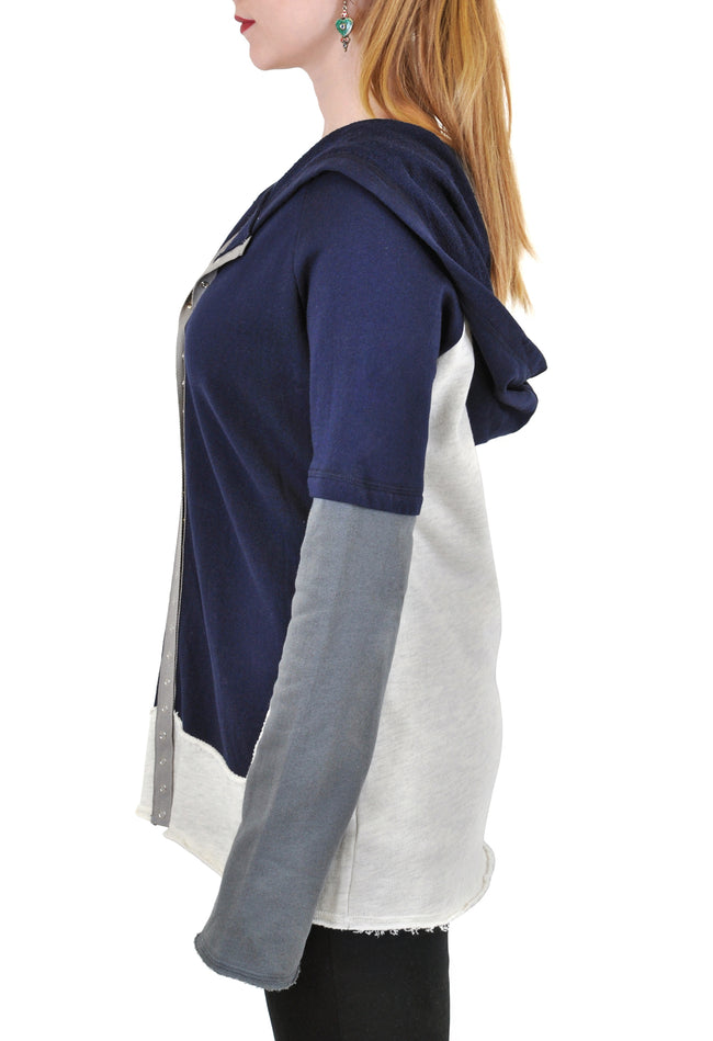 LONG SLEEVE SNAP FRONT COLOR BLOCKED HOODIE