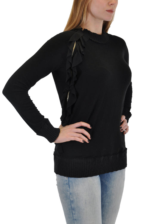 LONG SLEEVE CREW WITH SIDE RUFFLE DESIGN