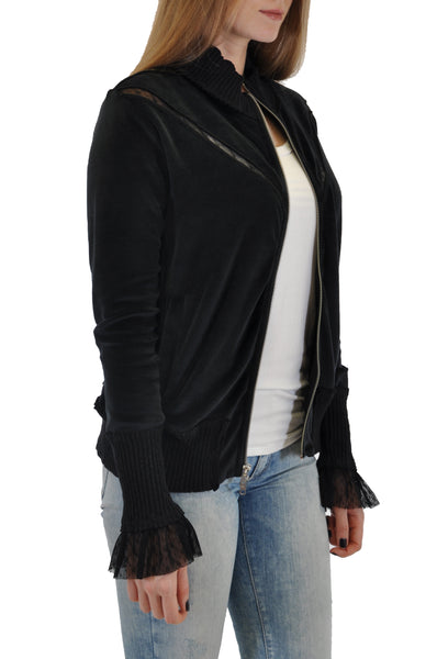 ZIP FRONT JACKET HIGH COLLAR WITH LACE CUFF DESIGN