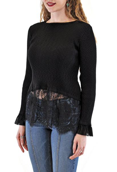 LONG SLEEVE CREW  RIB WITH LACE BOTTOM