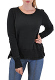 LONG SLEEVE CREW NECK SWEATER LACE TRIM