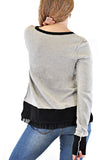 LONG SLEEVE CREW NECK SWEATER LACE TRIMMED