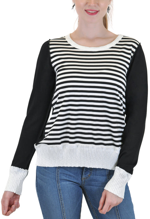 LONG SLEEVE CREW STRIPES RIB BAND