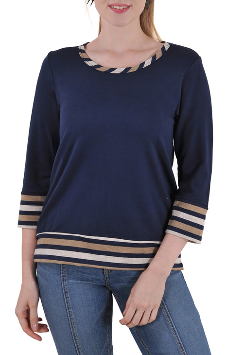 3/4 SLEEVE ROUND NECK TOP WITH STRIPE CONTRAST