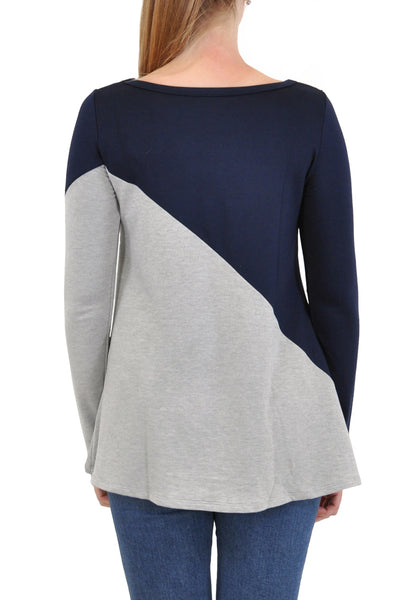 LONG SLEEVE TOP ASYMMETRICAL COLOR BLOCKED