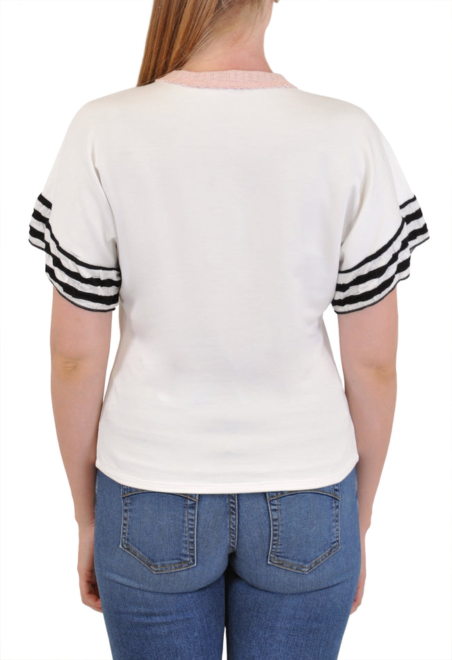 SHORT SLEEVE CREW NECK STRIPE SLEEVE