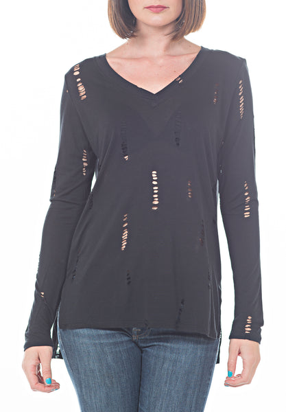 DISTRESSED TEE - PTJ TREND: Women's Designer Clothing