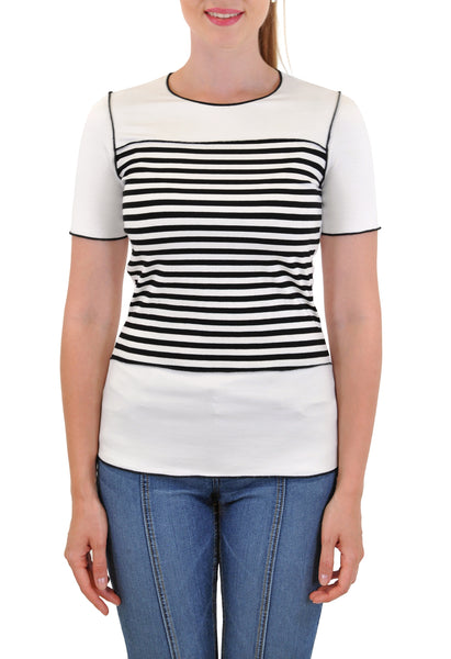 SHORT SLEEVE CREW WITH STRIPE INSERT