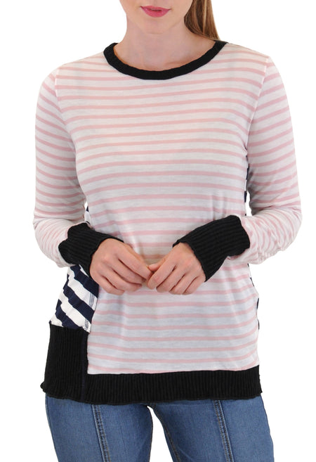 STRIPED-TRIM TSHIRT DRESS