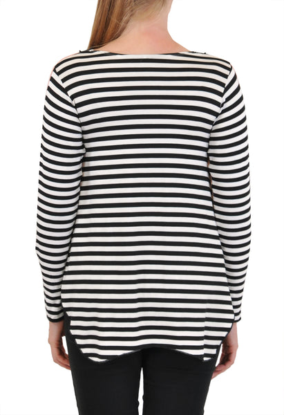 LONG SLEEVE  CREW NECK STRIPES BACK