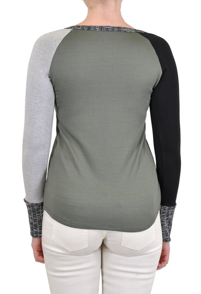 LONG SLEEVE CREW COLOR BLOCKED