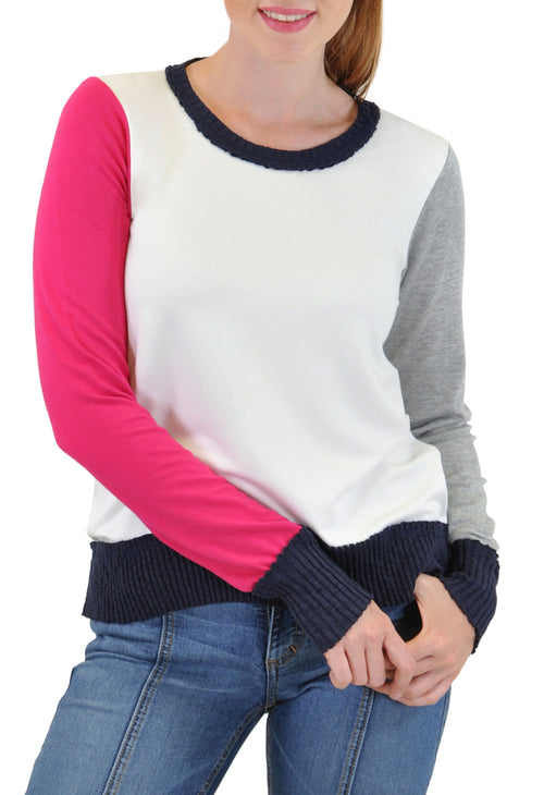 LONG SLEEVE CREW COLOR BLOCKED TRIM