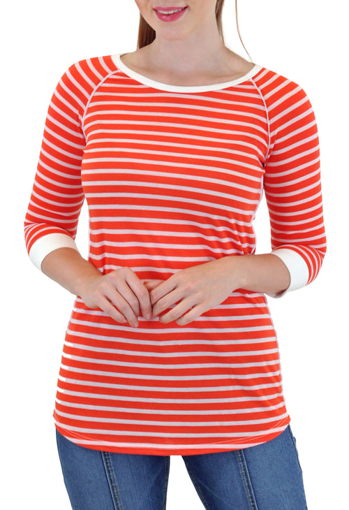 3/4 SLEEVE CREW NECK STRIPE TOP