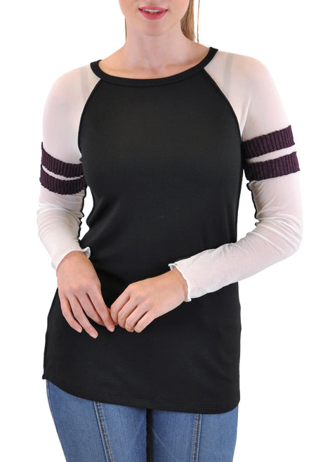 V NECK 3/4 BELL SLEEVE  WITH STRIPE ACCENT