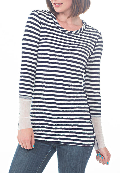 STRIPED WRINKLE TOP