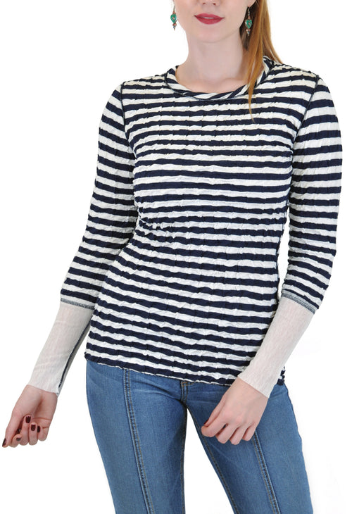 LONG SLEEVE CREW NECK STRIPES WITH BACK ZIP