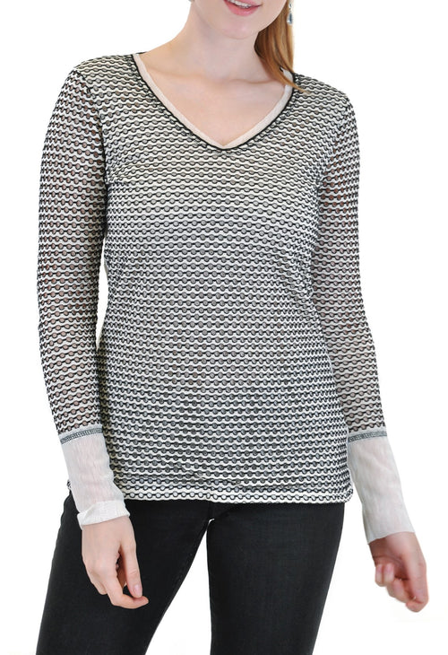 LONG SLEEVE V NECK WITH MESH CUFF