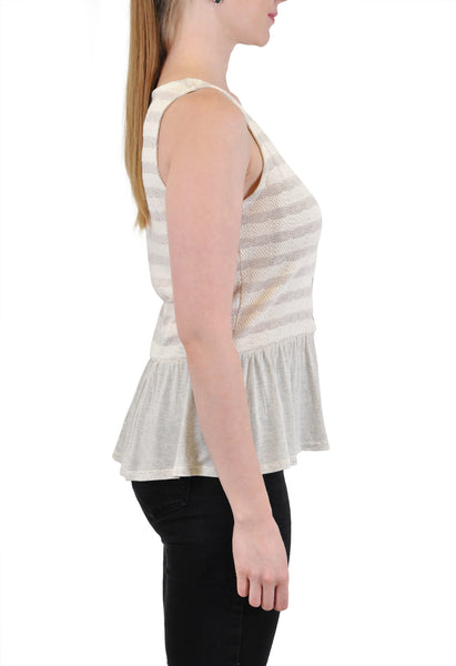 PEPLUM TANK WITH FRONT BUTTONS