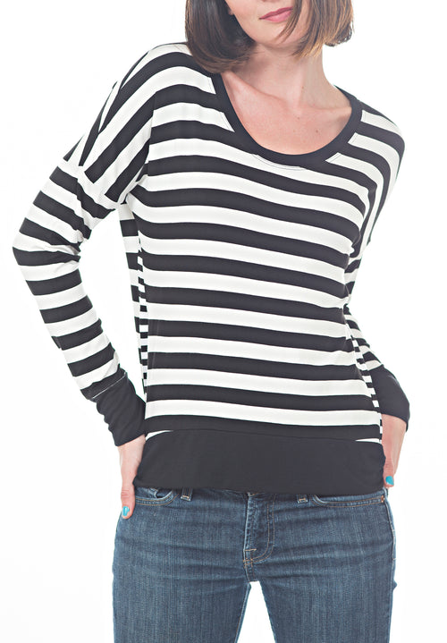 LS STRIPED TOP - PTJ TREND: Women's Designer Clothing