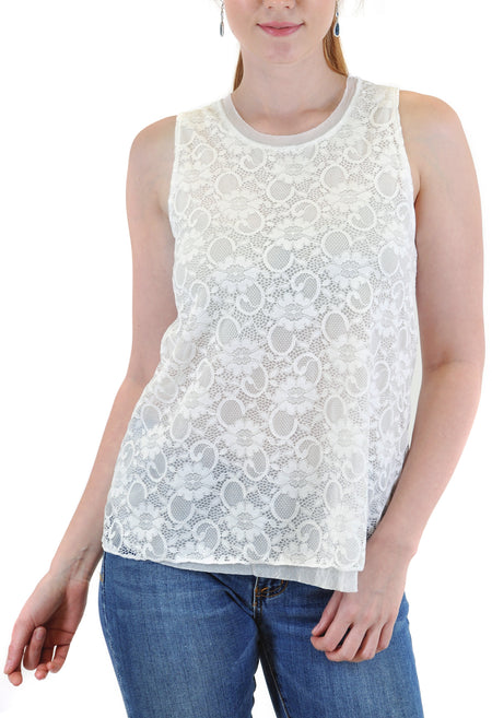 SHORT SLEEVE CROCHET CREW