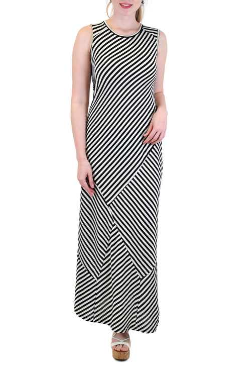 SLEEVELESS STRIPE MAXI DRESS