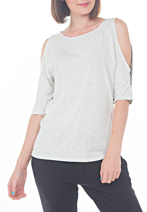 QUARTER SLV COLD SHOULDER TOP - PTJ TREND: Women's Designer Clothing