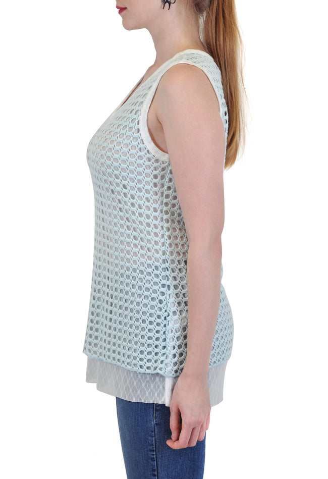 CROCHET TANK WITH LACE LINING