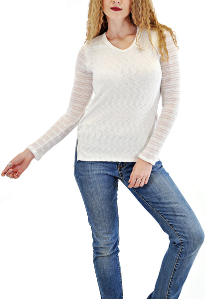 CREW NECK TOP WITH LACE SLEEVE
