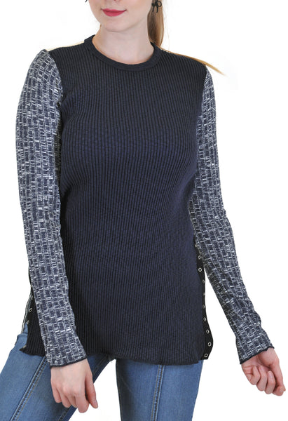LONG SLEEVE RIB TOP WITH SIDE SNAPS