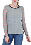 SHERPA SWEATER WITH STRIPE SLEEVES SIDE SNAPS
