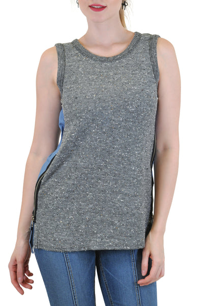 SLEEVELESS WITH CONTRAST BACK  AND SIDE ZIPPERS
