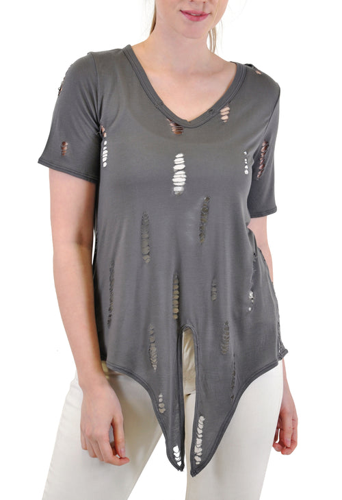 TIE FRONT DISTRESSED TEE