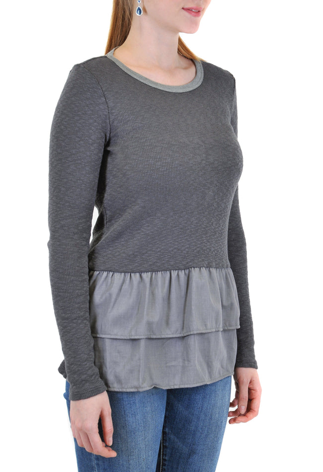 LONG SLEEVE CREW RIB WITH FRONT LAYERS RUFFLE