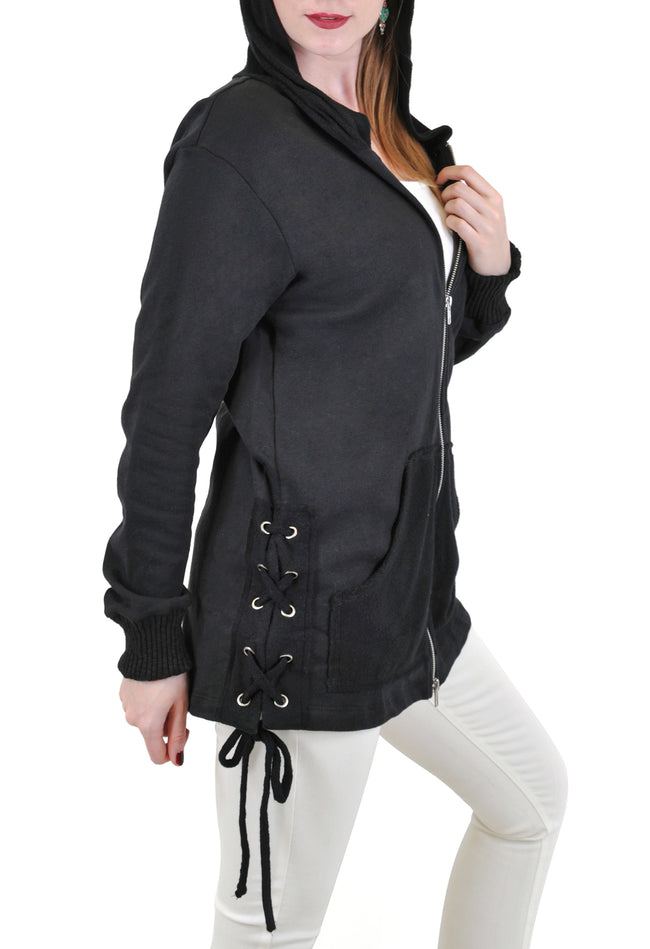 ZIP UP HOODIE WITH SIDE LACE