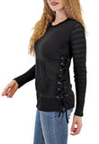 LONG SLEEVE CREW NECK SWEATER WITH LACE-UP SIDES