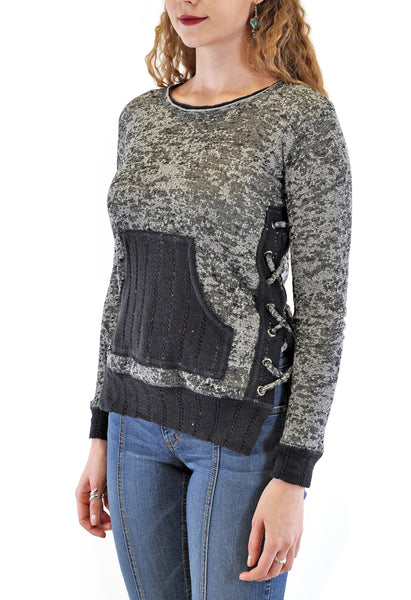 BURN OUT LONG SLEEVE CREW NECK SWEATER WITH LACE-UP SIDES