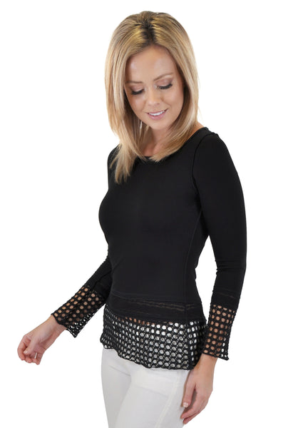 LACE & CROCHET INSERT LONG SLEEVE TOP