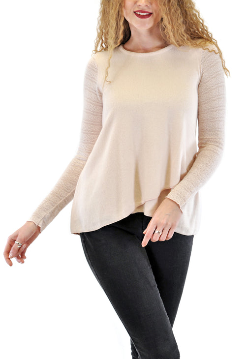 LONG SLEEVE CREW UNEVEN FRONT WITH LACE SLEEVES