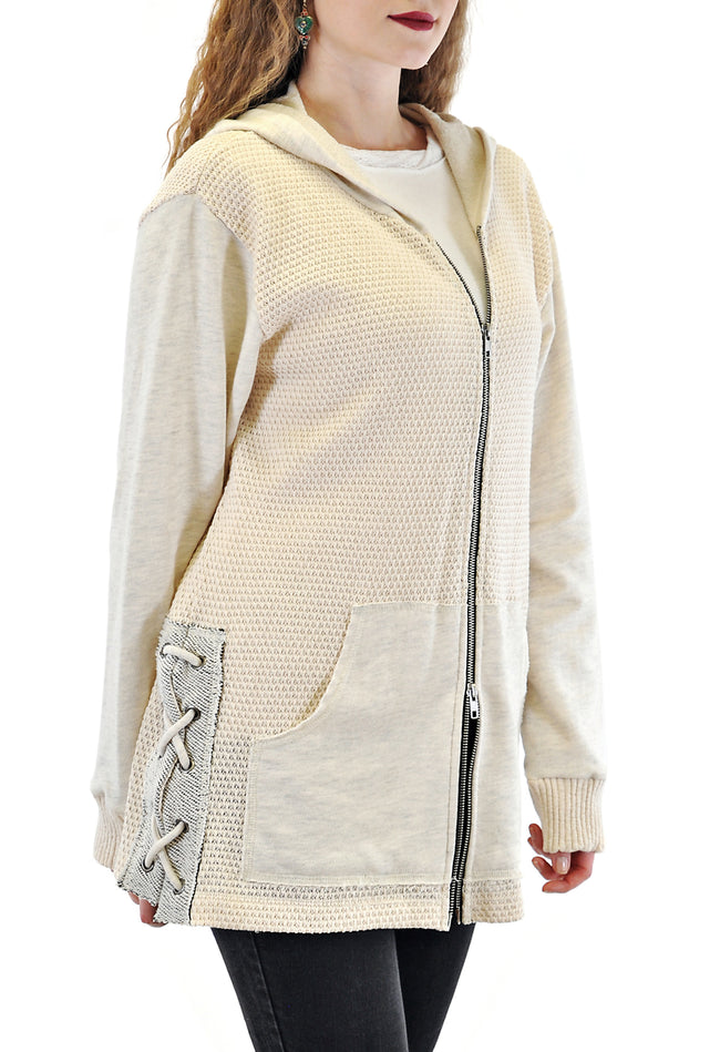 OVER-SIZED ZIP-UP HOODED JACKET WITH SIDES EYELET