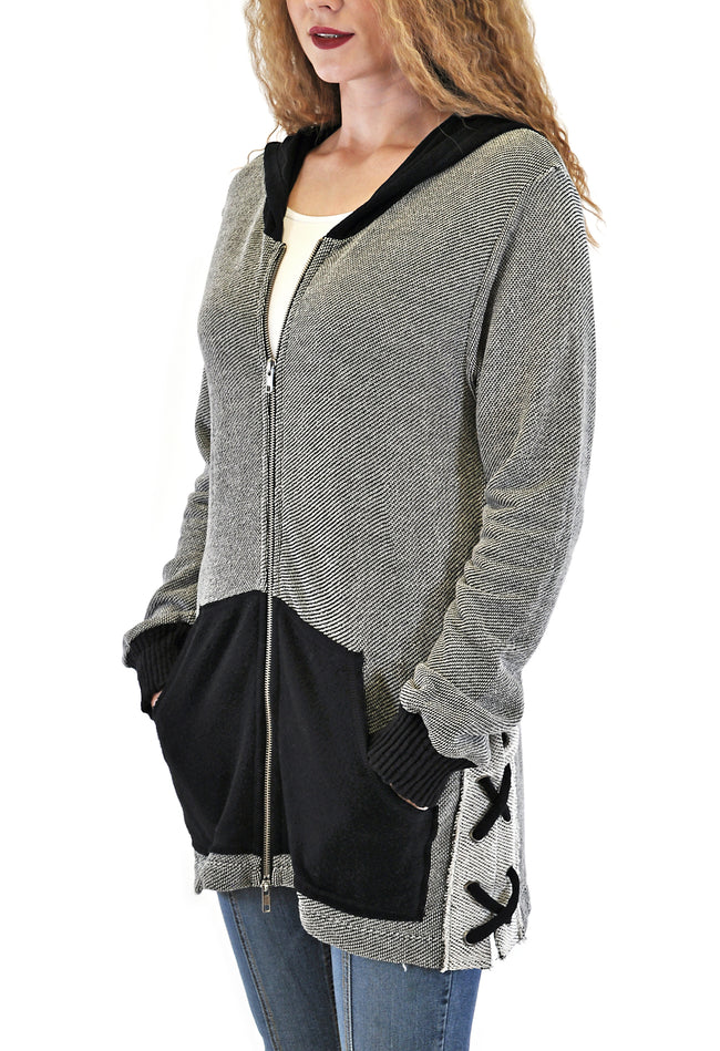 OVER-SIZED HOODED JACKET WITH LACE SIDES DESIGN