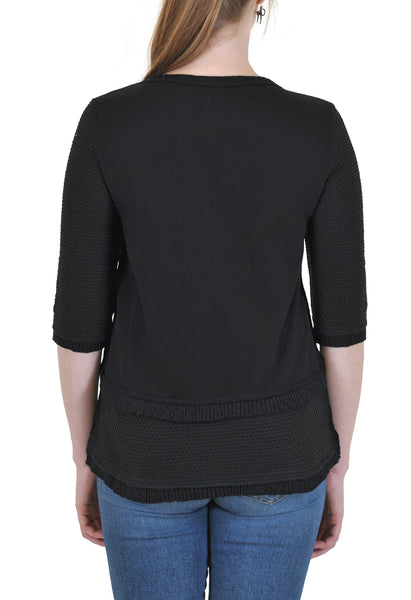 QUARTER SLEEVE CREW NECK TOP