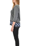 3/4 SLEEVE CREW NECK TOP WITH PLAID SLEEVE INSERT