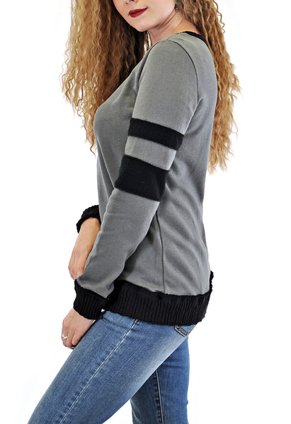 CREW NECK SWEATER WITH SLEEVE INSERT DESIGN