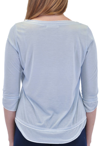 3/4 SLEEVE LAYERED TOP WITH CONTRAST STITCH