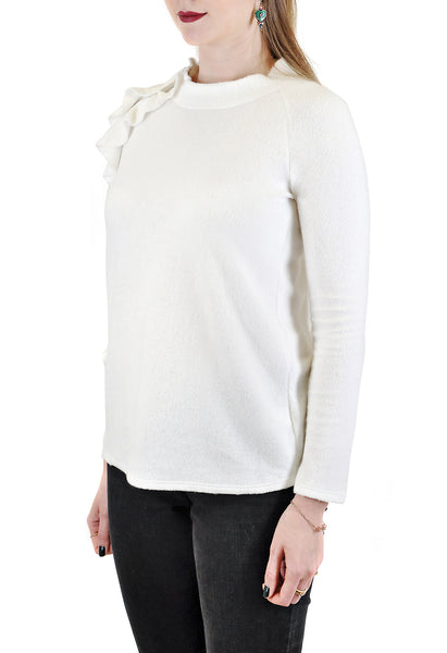 LONG SLEEVE CREW WITH SIDE RUFFLES AND ZIPPER