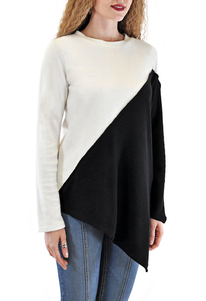 ASSYMETRICAL DESIGN COLOR BLOCKED TOP