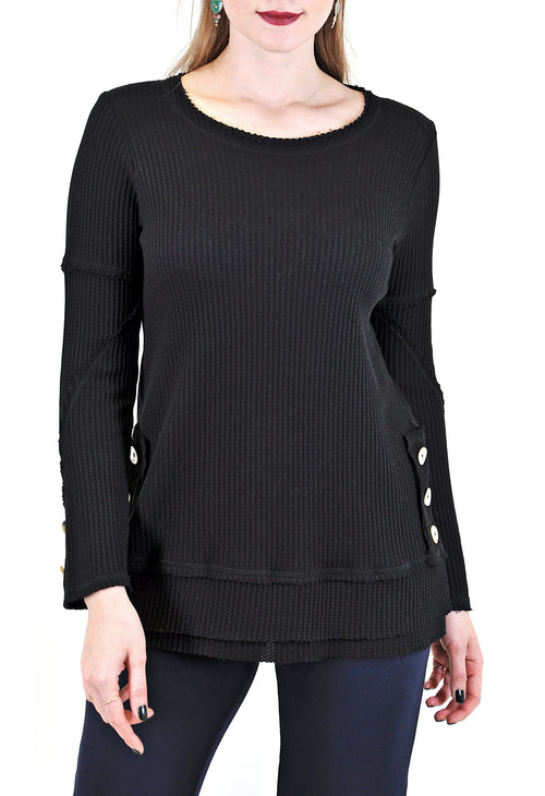 LONG DOLMAN SLEEVES SWEATER WITH SIDES BUTTONS