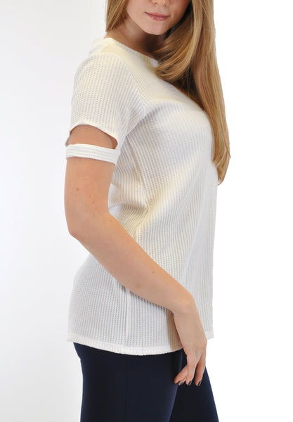 CREW NECK TOP WITH SLEEVE  OPEN CUT